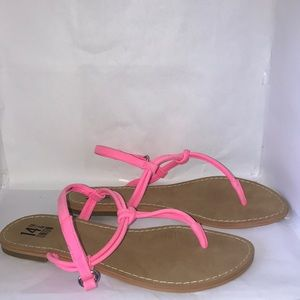Neon pink thong sandals